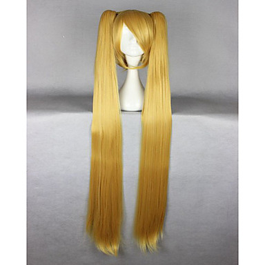 cheap Beauty & Hair-vocaloid akita neru famous animation long straight synthetic braided blonde cosplay wig Halloween