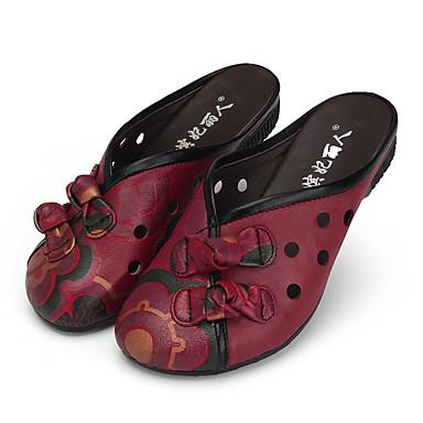 Dámské Boty Kůže Léto Pohodlné Sandály Rovná podrážka Mašle   Květiny pro  Ležérní Černá   Červená 5312691 2019 –  41.99 6c5ff4d144