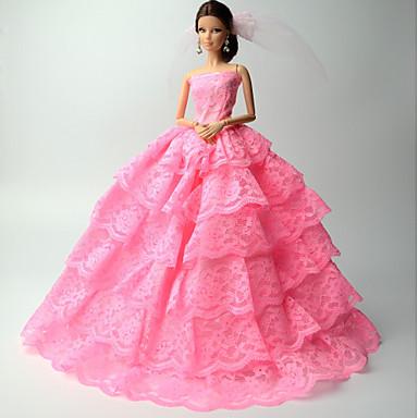 ชุดตุ๊กตา สำหรับ Barbie ลูกไม้ ลูกไม้ ชุดเดรส สำหรับ ของหญิงสาว ของเล่นตุ๊กตา