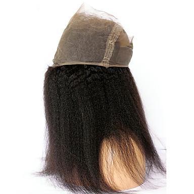 povoljno Postavljanje ekstenzija-CARA 360 Frontalni Ravan kroj / Kinky Ravno Besplatno dio Francuska mrežica Ljudska kosa s dječjom kosom