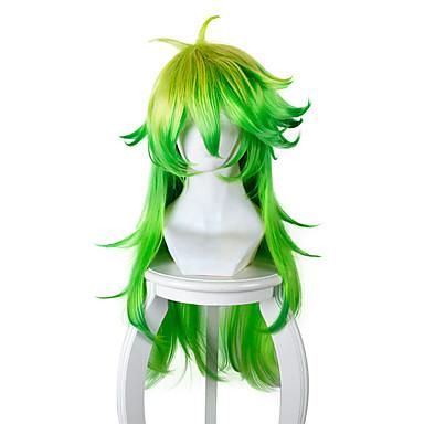 billige Kostymeparykk-Syntetiske parykker Kostymeparykker Rett Stil Lokkløs Parykk Grønn Syntetisk hår Dame Grønn Parykk Lang Veldig lang