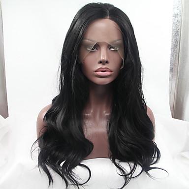 วิกผมสังเคราะห์ลูกไม้ด้านหน้า ลอนธรรมชาติ Kardashian สไตล์ มีลูกไม้ด้านหน้า ผมปลอม Black สังเคราะห์ 18-26 inch สำหรับผู้หญิง ทนต่อความร้อน glueless ดำ วิก ขนาดกลาง ยาว / ใช่