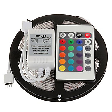 preiswerte Home&Living-zdm 5m 300 x 2835 8mm rgb led streifen licht flexibel und ir 24key fernbedienung verknüpfbar selbstklebend farbwechsel
