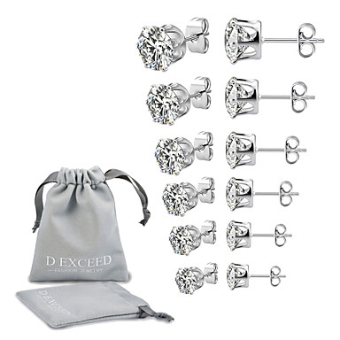 cheap Men's Earrings-Men's Women's Cubic Zirconia Stud Earrings Solitaire Ladies European Simple Style Zircon Silver Plated Earrings Jewelry White / Black For Wedding Party Daily Masquerade Engagement Party Prom 6 Pairs