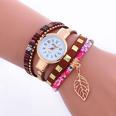 levne Dámské-Dámské Náramkové hodinky Křemenný Z umělé kůže Cool Punk Analogové dámy Přívěšky Třpyt Lístky Vintage - Růžová Červená Modrá