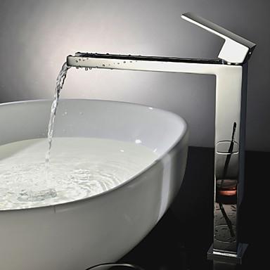 Badkarskran - Nutida Krom Badkar och dusch Keramisk Ventil Bath Shower Mixer Taps / Singel Handtag Ett hål