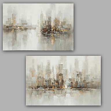 cheap Wall Art-Oil Painting Hand Painted - Abstract Classic Modern Stretched Canvas