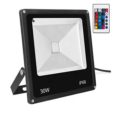 1pc 30 W ไฟสนาม LED Waterproof / ควบคุมจากระยะไกล / หรี่แสงได้ RGB 85-265 V เอ๊าท์ดอร์ / ลาน / สวน 1 ลูกปัด LED