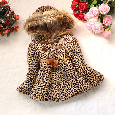 cheap Baby & Kids-Toddler Girls' Animal Print Daily Leopard Long Sleeve Regular Down & Cotton Padded Camel