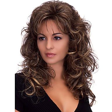 billige Syntetiske parykker-Syntetiske parykker Krop Bølge Stil Med lugg Parykk Medium Lengde Mørkebrun Syntetisk hår Dame Varme resistent fluffy Mørkebrun Parykk
