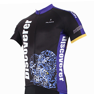 8ff9b5294 ILPALADINO Men s Short Sleeve Cycling Jersey Leopard Animal Bike Jersey Top  Breathable Quick Dry Ultraviolet Resistant