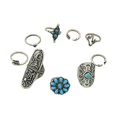 สำหรับผู้หญิง ลูกปัด วงแหวน โลหะผสม สุภาพสตรี Hippie แหวนแฟชั่น เครื่องประดับ สีเงิน สำหรับ ทุกวัน ที่มา 6 / 7 / 4 9pcs