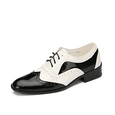 cheap Men's Dance Shoes-Men's Modern Shoes Flat Low Heel Patent Leather Black / White / Performance / EU43