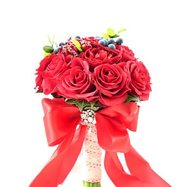 ดอกไม้สำหรับงานแต่งงาน ช่อดอกไม้ งานแต่งงาน / งานปาร์ตี้ / งานราตรี ผ้าแพรแข็ง / สเปนเดก / ดอกไม้แห้ง 11.02นิ้ว(ประมาณ 28ซม.)
