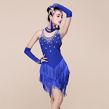 ชุดเต้นละติน ชุดเดรสต่างๆ สำหรับผู้หญิง Performance สแปนเด็กซ์ / เส้นใยโปรตีนจากนม ของประดับด้วยลูกปัด / พู่ เสื้อไม่มีแขน ธรรมชาติ ชุดเดรส