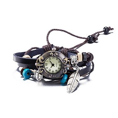 สำหรับผู้หญิง นาฬิกาแฟชั่น นาฬิกาสร้อยข้อมือ นาฬิกาข้อมือ นาฬิกาอิเล็กทรอนิกส์ (Quartz) หนัง น้ำตาล กันน้ำ ดิจิตอล สุภาพสตรี วินเทจ โบฮีเมียน กำไล - สีน้ำตาล