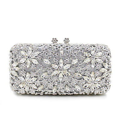 cheap Bags-Women's Crystal / Rhinestone Metal Evening Bag Wedding Bags Floral Print Black / Gold / Silver