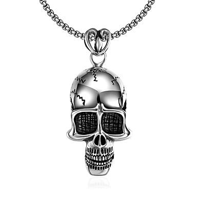 preiswerte Halsketten Silber-Herrn Pendant Halskette Mexikanischer Zuckerschädel Totenkopf Personalisiert Einzigartiges Design Anhänger Stil Punk Edelstahl Silber Modische Halsketten Schmuck Für Halloween Alltag