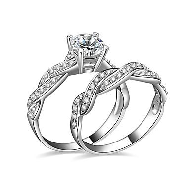 สำหรับผู้หญิง แหวนคู่ แหวนหมั้น Cubic Zirconia 2pcs สีเงิน ชุบเงิน สุภาพสตรี งานแต่งงาน ปาร์ตี้ เครื่องประดับ Twisted Round HALO ความรัก