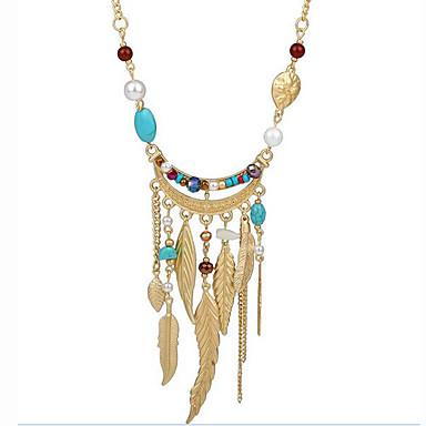 66888fd9c793 Mujer Turquesa Cristal Borlas Largo Collar de hebras collar largo Perla  Artificial Resina Forma de Hoja damas Borla Bohemio Boho Colores Surtidos  ...