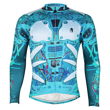 ILPALADINO สำหรับผู้ชาย แขนยาว Cycling Jersey จักรยาน เสื้อยืด Tops ขี่จักรยานปีนเขา Road Cycling ระบายอากาศ แห้งเร็ว Ultraviolet Resistant กีฬา 100% โพลีเอสเตอร์ Terylene เสื้อผ้าถัก / แถบสะท้อนแสง