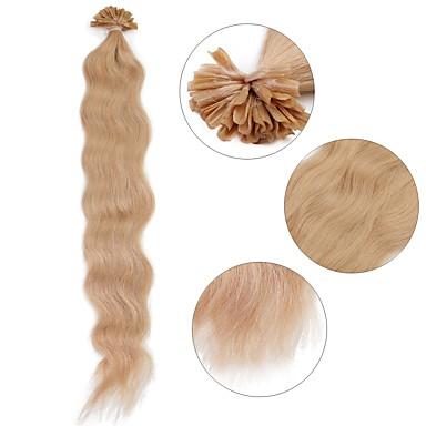 povoljno Ekstenzije za kosu-Ekstenzije s U vrhom Proširenja ljudske kose Kovrčav Ljudska kosa Ekstenzije od ljudske kose Žene Blonde