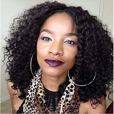 วิกผมจริง ลูกไม้หน้าไม่มีกาว มีลูกไม้ด้านหน้า วิก สไตล์ ผมเปรู Kinky Curly วิก ผมเด็ก เส้นผมธรรมชาติ วิกผมแอฟริกันอเมริกัน 100% มือผูก สำหรับผู้หญิง Short ขนาดกลาง ยาว วิกผมแท้ / หยิกหยักศก