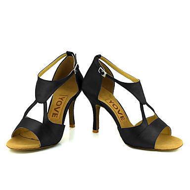cheap YOVE-Women's Dance Shoes Satin Latin Shoes / Salsa Shoes Buckle / Ribbon Tie Sandal / Heel Customized Heel Customizable Bronze / Almond / Nude / Performance / Leather / Professional / EU38