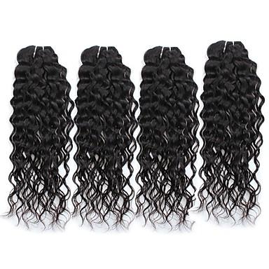 povoljno Ekstenzije od ljudske kose-4 paketića Peruanska kosa Water Wave Netretirana  ljudske kose Ljudske kose plete 8-28 inch Isprepliće ljudske kose Rasprodaja Proširenja ljudske kose / 8A / Vodeni valovi