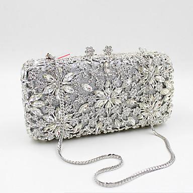 preiswerte Taschen-Damen Crystal / Strass Metal Abendtasche Hochzeitstaschen Blumenmuster Schwarz / Gold / Silber