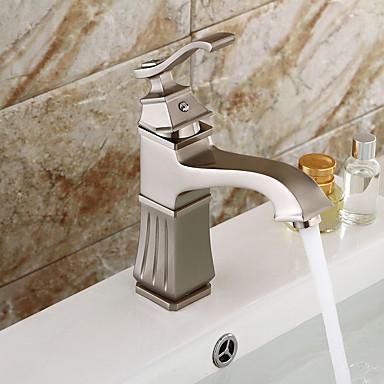 ก๊อกน้ำอ่างล้างจานห้องน้ำ - น้ำตก / กระจาย Nickel Brushed ตัวเจาะนำศูนย์ จับเดี่ยวหนึ่งหลุมBath Taps / Brass