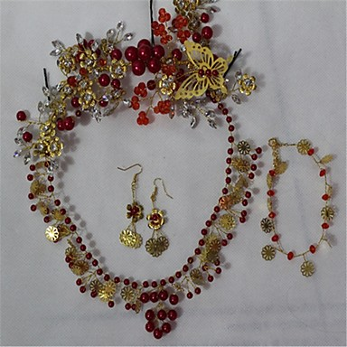 cheap Jewelry Sets-Women's Crystal Earrings Jewelry Red For Wedding Party