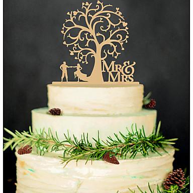 povoljno Svadbeni pir-Figure za torte Non-personalizirane Par Classic / Hearts Akril Vjenčanje / Godišnjica / Bridal Shower CrnVrt Tema / Azijski Tema /