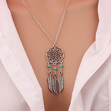 Fashion Gold Plated Chain Turquoise Long Tassels Pendant necklace