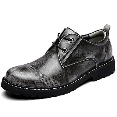 สำหรับผู้ชาย รองเท้าหนัง แน๊บป้า Leather ฤดูใบไม้ผลิ / ฤดูร้อน / ตก รองเท้า Oxfords สีเทา / สีน้ำตาลอ่อน / การกรีฑา / ฤดูหนาว / กลางแจ้ง / รองเท้าสบาย ๆ