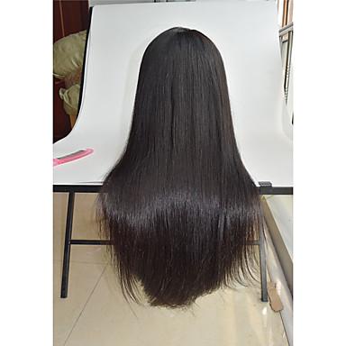 วิกผมจริง ลูกไม้หน้าไม่มีกาว มีลูกไม้ด้านหน้า วิก สไตล์ ผมบราซิล Straight วิก 130% Hair Density ผมเด็ก เส้นผมธรรมชาติ วิกผมแอฟริกันอเมริกัน 100% มือผูก Pre-ดึง สำหรับผู้หญิง Short ขนาดกลาง ยาว / ตรง