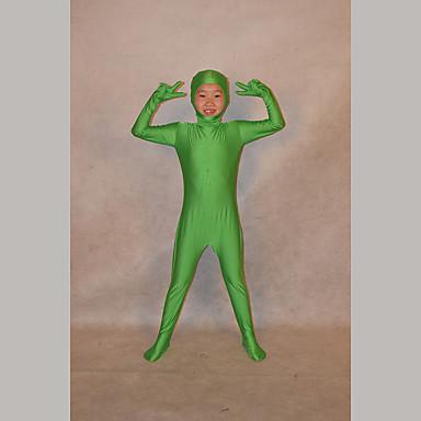 Ninja ชุดเซนไท สำหรับเด็ก Festival / Holiday Lycra สีเขียว ชุดเทศกาลคานาวาว สีพื้น
