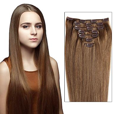 povoljno Ekstenzije za kosu-Febay S kopčom Proširenja ljudske kose Ravan kroj Remy kosa Ljudska kosa Brazilska kosa Srednja Brown / Bleached Blonde