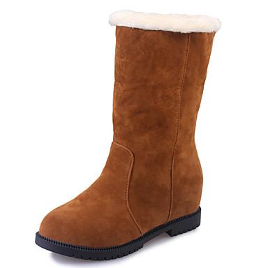61431b88c3e2 Dame Sko Ruskind Vinter Komfort Snestøvler Modestøvler Støvler Flade hæle  Rund Tå for Afslappet Formelt Sort
