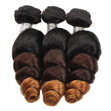 cheap Ombre Hair Weaves-3 Bundles Brazilian Hair Loose Wave Human Hair 300 g Ombre Hair Weaves / Hair Bulk Human Hair Weaves Human Hair Extensions / 8A