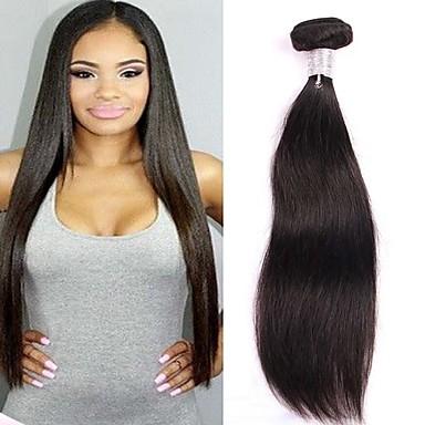 povoljno Ekstenzije od ljudske kose-3 paketa Brazilska kosa Ravan kroj Virgin kosa Ljudske kose plete 8-30 inch Priroda Crna Isprepliće ljudske kose Proširenja ljudske kose / 10A