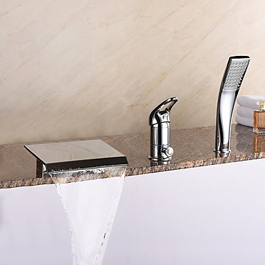 ที่ทันสมัย อ่างโรมัน Waterfall / spary กว้าง / รวมสายฝักบัว with  Ceramic Valve จับเดี่ยวสามหลุม for  Chrome , ก๊อกอ่างอาบน้ำ
