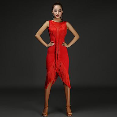 Shall We Latin Dance Dresses Women Performance Chinlon Splicing ...