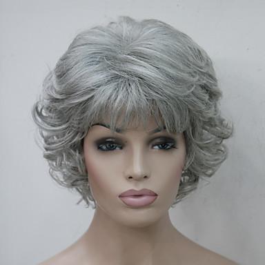 วิกผมสังเคราะห์ ความหงิก ความหงิก กับ Bangs ผมปลอม Short Gray สังเคราะห์ สำหรับผู้หญิง ส่วนด้านข้าง กับ Bangs Gray