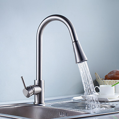 Kitchen Faucet Single Handle One Hole Nickel Brushed Centerset