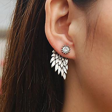 สำหรับผู้หญิง ต่างหูติดหู front back earrings ตุ้มหูหลังวิเศษ ปีกนางฟ้า สุภาพสตรี วินเทจ พลอยเทียม ต่างหู เครื่องประดับ สีทอง / สีดำ / สีเงิน สำหรับ งานแต่งงาน ปาร์ตี้ ทุกวัน ที่มา