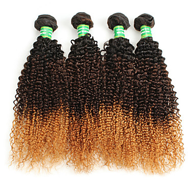 povoljno Ekstenzije od ljudske kose-4 paketića Brazilska kosa Kovrčav afro Virgin kosa Ombre Ombre Isprepliće ljudske kose Proširenja ljudske kose / 10A