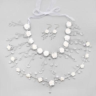 สำหรับผู้หญิง คริสตัล ชุดเครื่องประดับเจ้าสาว พู่ ต่างหู เครื่องประดับ ขาว สำหรับ งานแต่งงาน