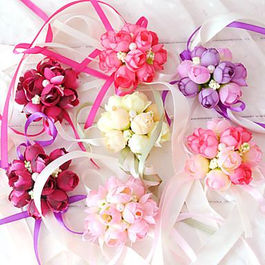 ดอกไม้สำหรับงานแต่งงาน ช่อดอกไม้ข้อมือ การตกแต่งงานแต่งงานที่ไม่ซ้ำใคร โอกาสพิเศษ งานปาร์ตี้ / งานราตรี ฝ้าย 1.18