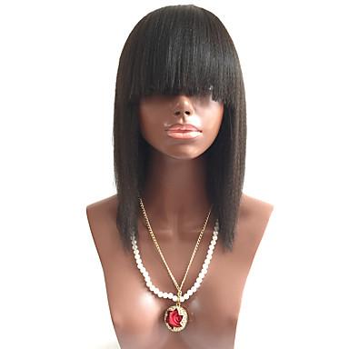 วิกผมจริง ลูกไม้หน้าไม่มีกาว มีลูกไม้ด้านหน้า วิก กับ Bangs สไตล์ ผมบราซิล Straight Yaki วิก 130% Hair Density ผมเด็ก เส้นผมธรรมชาติ วิกผมแอฟริกันอเมริกัน 100% มือผูก สำหรับผู้หญิง Short ขนาดกลาง ยาว